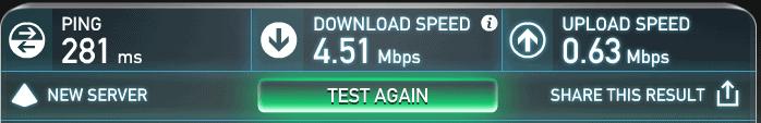 IPvanish speed test results