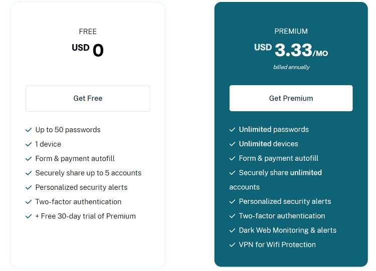 Dashlane pricing