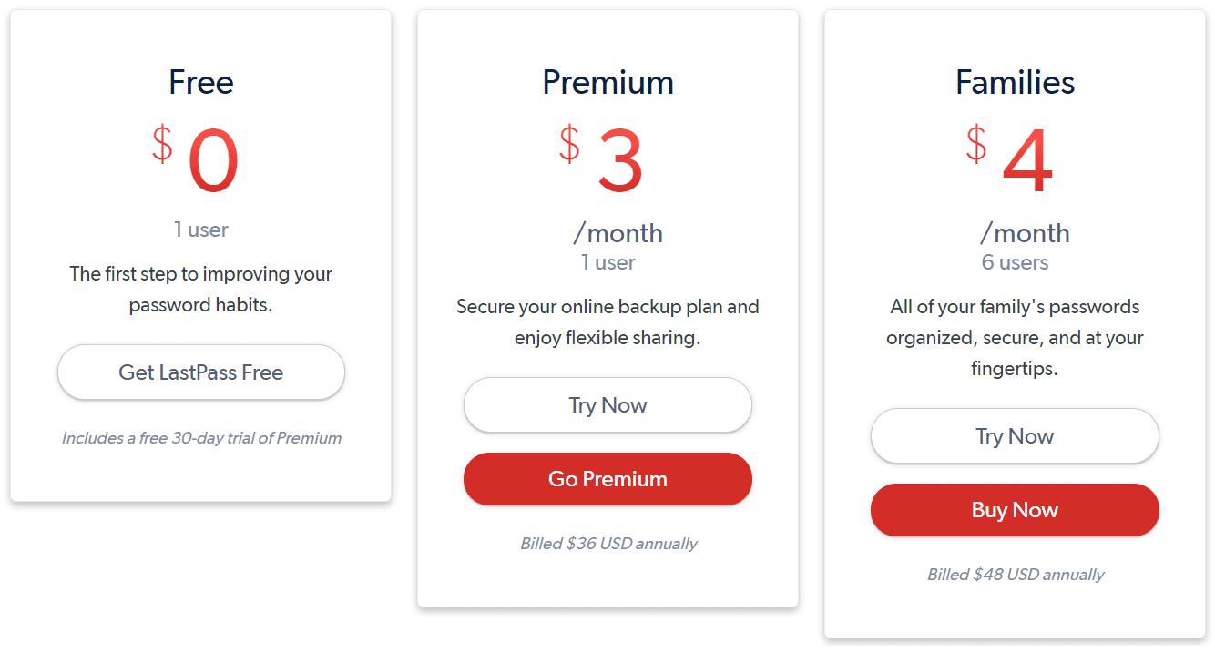 lastpass pricing
