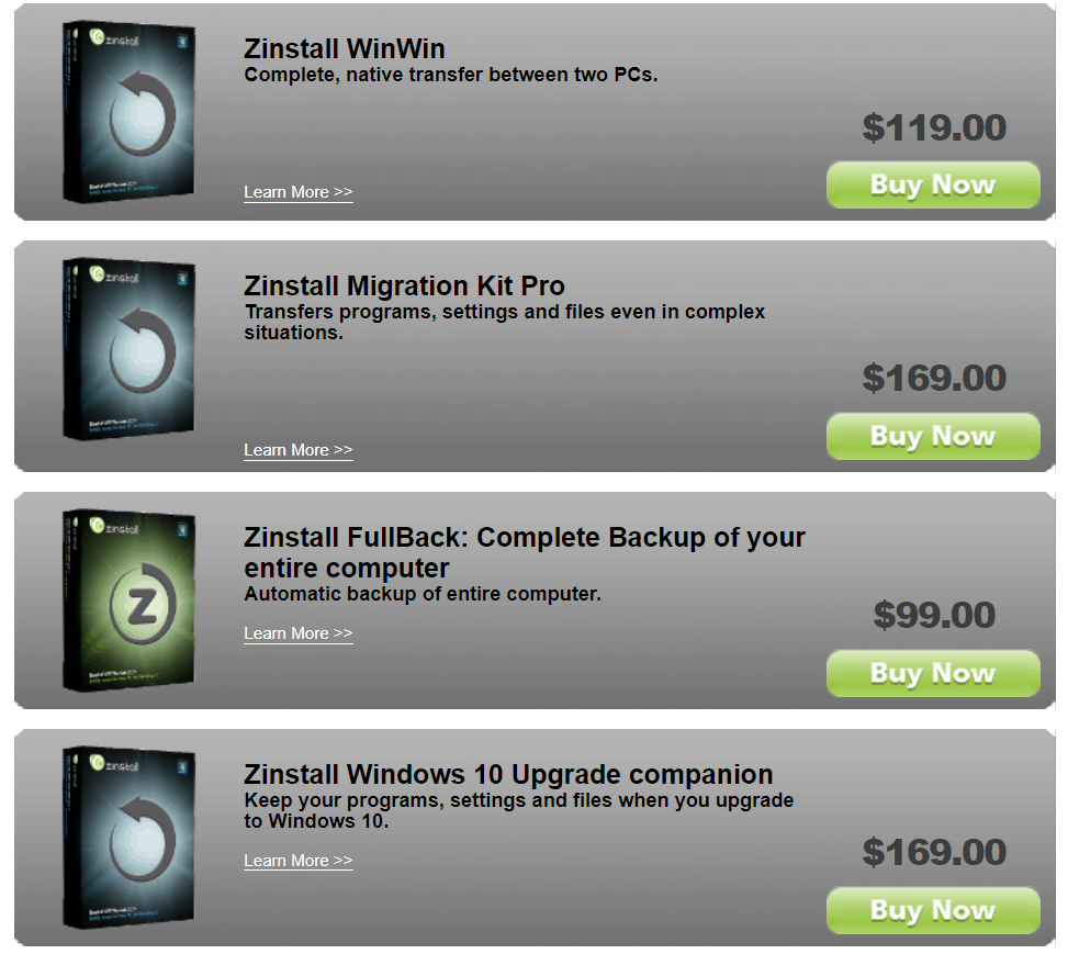 zinstall pricing