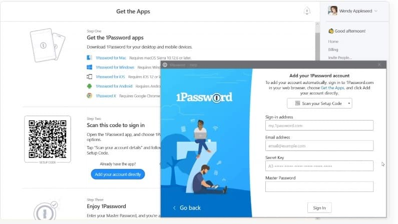 1password installation and setup