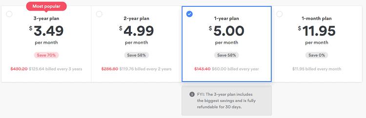 nordvpn pricing